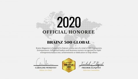 Brainz 500 Global Honoree, 2020