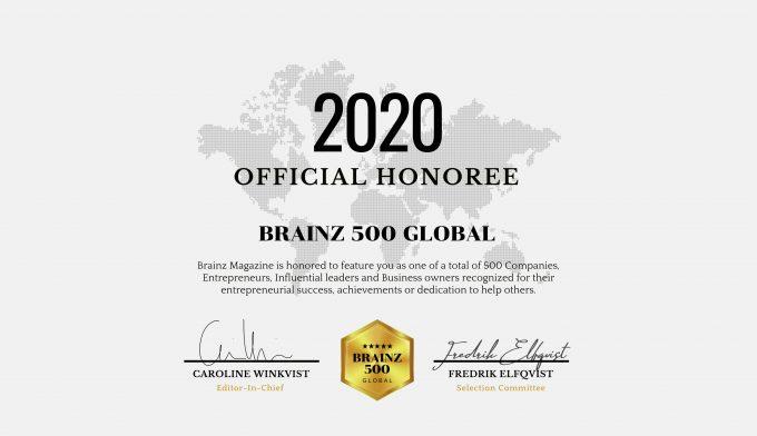 Brainz 500 Global Honoree, 2020