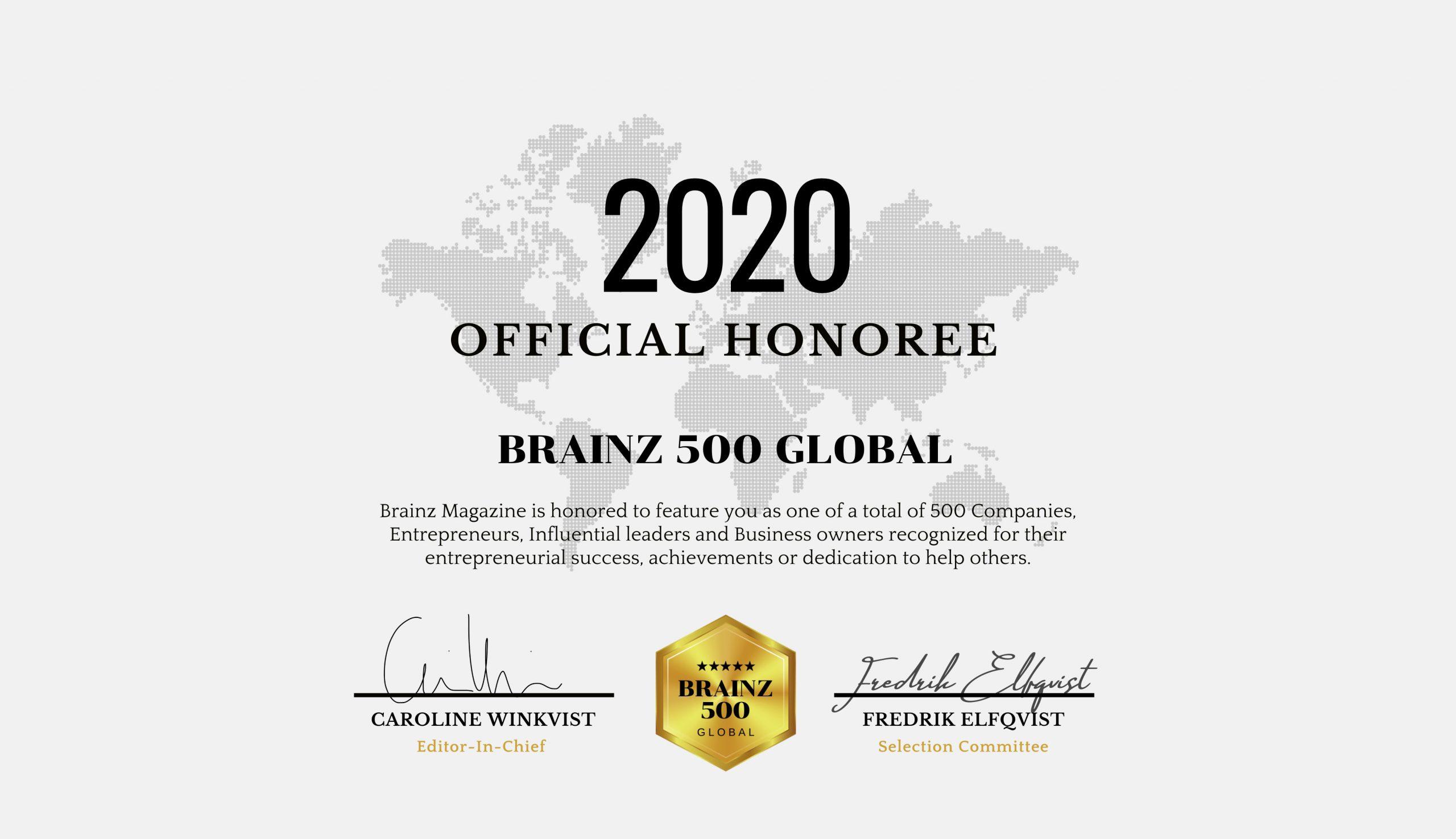Stefan Eng on the Brainz 500 Global Honoree List, 2020